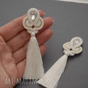 niebanalne sznurek białe kolczyki sutasz z