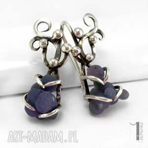 kolczyki fioletowe bilberry i srebrne