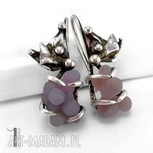 szare kolczyki bilberry srebrne