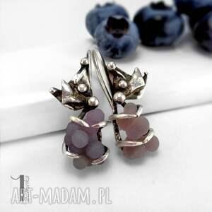 kolczyki fioletowe bilberry srebrne