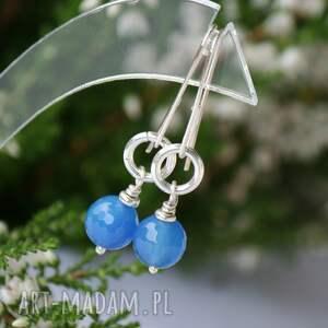 święta prezent blue agat kolczyki