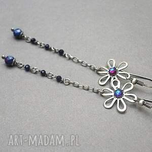 niebieskie srebro oksydowane blue flower vol. 2 - kolczyki