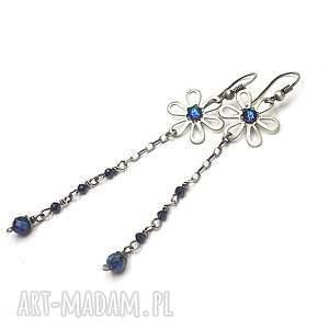 srebro oksydowane blue flower vol. 2 - kolczyki