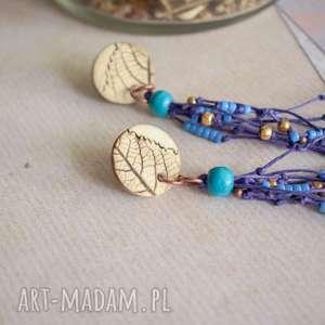 kolczyki niebieskie boho z odciskiem