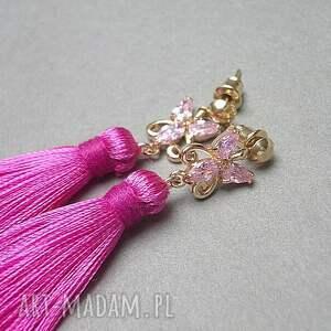 różowe chwosty boho /butterfly/ - hot pink - /15