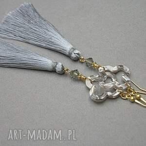 złote srebro boho /grey/ - kolczyki