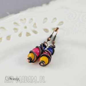 biżuteria z-miedzi boho krople - kolczyki kolorowe