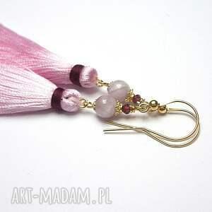 różowe boho /l. pink/ - kolczyki