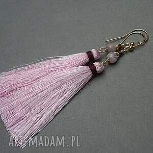 atrakcyjne kunzyt boho /l. pink/ - kolczyki