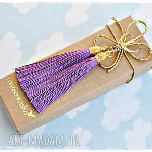 fioletowe kolczyki chwosty ze swarovskim na
