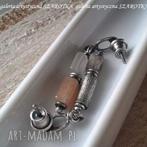 srebro oksydowane ciepło - zimno kolczyki z kamienia
