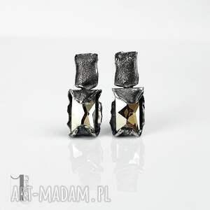 kolczyki-srebrne kolczyki szare cubic - srebrne swarovski