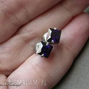 fioletowe kolczyki srebro cubist s fiołki -