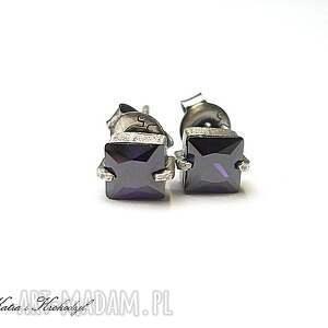 nietuzinkowe kolczyki srebro cubist s fiołki -