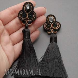 sznurek czarno miedziane kolczyki sutasz