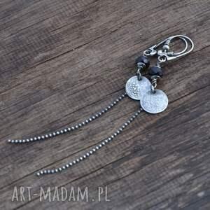 czarne kolczyki srebro czarny spinel długie srebrne