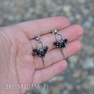 kolczyki srebro czarny spinel srebrne