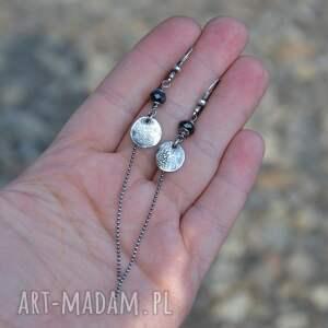 trendy kolczyki srebro czarny spinel długie srebrne