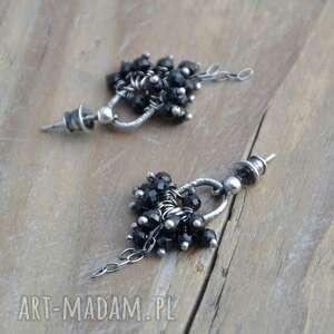 spinel kolczyki czarny srebrne