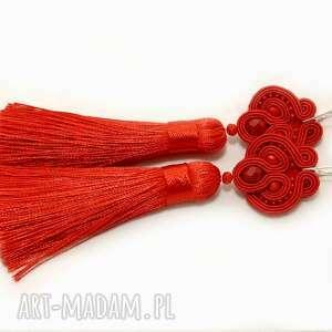 handmade kolczyki sznurek czerwone / klipsy sutasz