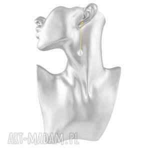 złote kolczyki perła długie z perłą - pearly