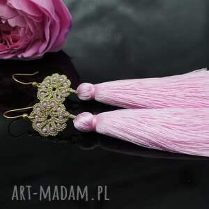 BranickaArt Długie kolczyki z różowymi chwostami, frywolitka - chwosty