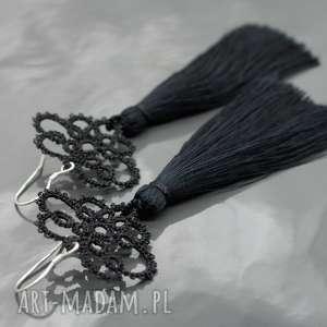 koronka kolczyki długie czarne chwostami