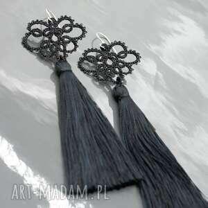 kolczyki koronka długie czarne chwostami