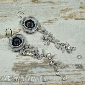 srebrne szare kolczyki długie, eleganckie kwiaty
