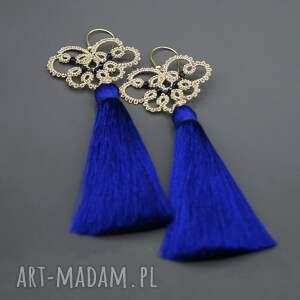 niebieskie kolczyki długie z chabrowymi