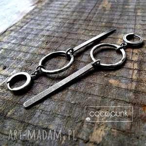 geometryczne kolczyki długie srebrne - kółko i
