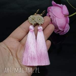 BranickaArt Długie kolczyki z różowymi chwostami, frywolitka - chwosty koronka