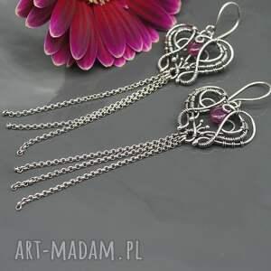 BranickaArt Długie kolczyki z rubinami i srebrnymi chwostami - wire wrapping rubin