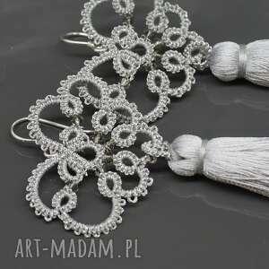 BranickaArt Długie srebrne kolczyki z kryształkami i chwostami