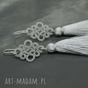 frywolitka długie srebrne kolczyki