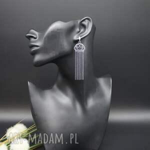 srebrne długie, kolczyki dorn