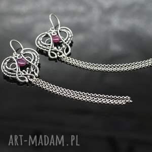 srebro długie kolczyki z rubinami