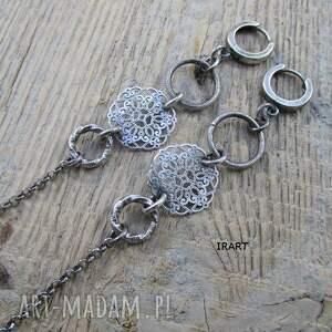 urokliwe kolczyki srebro długie z rozetą