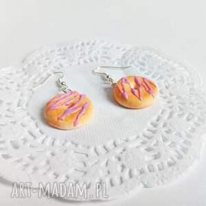 srebrne kolczyki - donuty z lukrową polewą