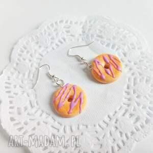 donuty kolczyki brązowe - z lukrową polewą