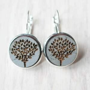 srebrne drewniane kolczyki drzewo życia