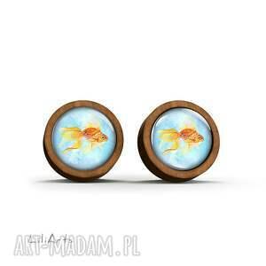 gustowne kolczyki drewniane - złota rybka