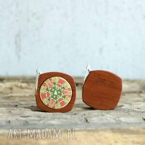 drewno drewniane kolczyki z polymer clay