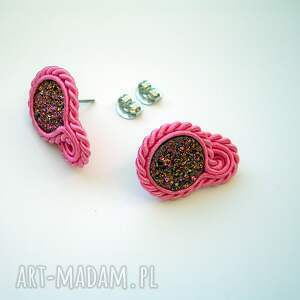 modne kolczyki agat druzy agatowe różowe - mini