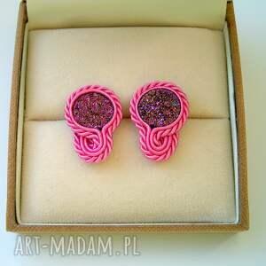 kolorowe kolczyki małe druzy agatowe różowe - mini