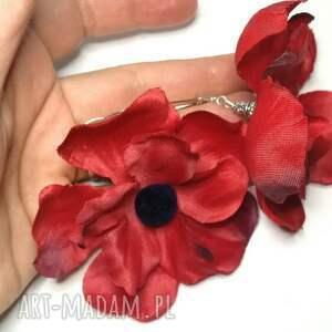 duże lekkie makowe kolczyki - maki kwiaty