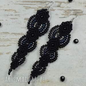 długie kolczyki eleganckie, czarne