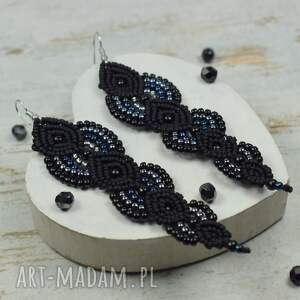 kolczyki z-koralików eleganckie, długie czarne