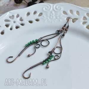 zielone kolczyki z-miedzi elficka zieleń