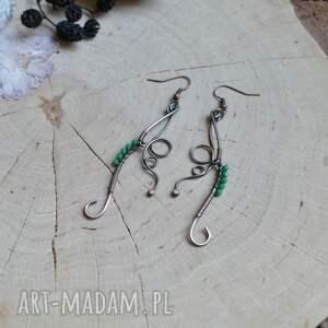 urokliwe kolczyki boho elficka zieleń